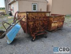 Lot of (4) miscellaneous items including (2) dumper hoppers, (1) hand truck, and (1) wheelbarrow (