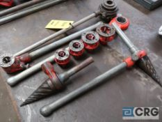 Lot of (2) manual pipe threaders with (5) cutting heads and (2) reamers (Basement Main Shop)