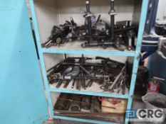 Lot of gear pullers, assorted types and sizes, includes steel single door cabinet (Basement Main
