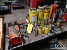 Lot of (16) hydraulic jacks, assorted tonage (Pipe Shop)