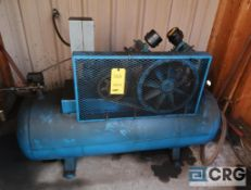 EMQLO horizontal air compressor, 5 HP motor, 200 psi, located outside in shed (Maintenance Shop)