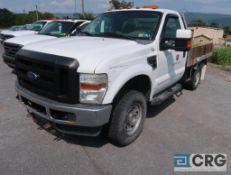 2010 Ford F350 XL Superduty flatbed truck, regular cab, 4 X 4, V8 gas engine, AT, gas, 105 in. x