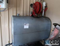 Hydraulic oil tank with retractable hose reel, 5 ft. L x 45 in. H x 27 in. dia. (Maintenance Shop)