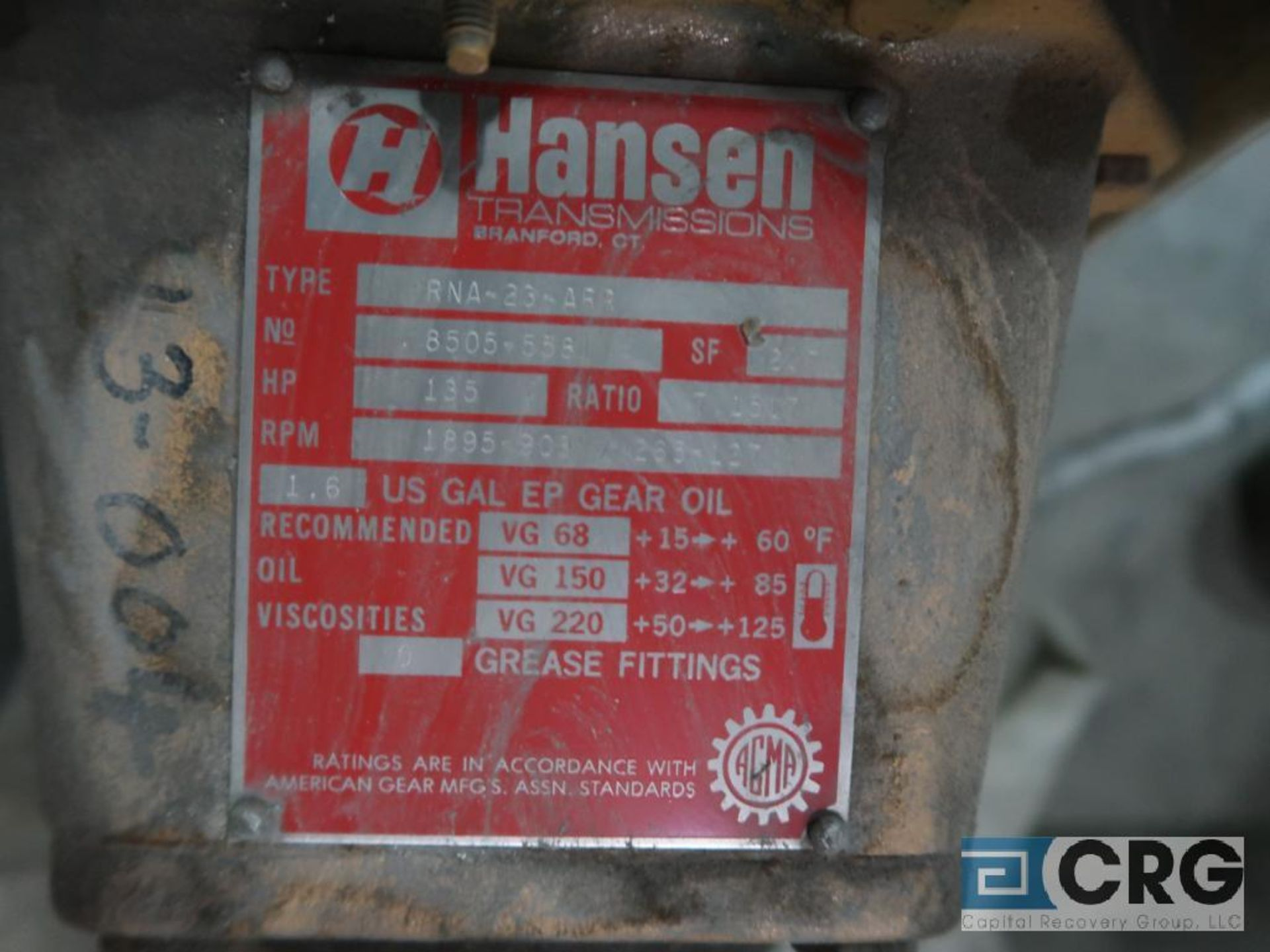 Hanson RNA22ARB parallel gear drive, ratio 17.1517, 1895/908/265-27 RPM (Finish Building) - Image 2 of 2