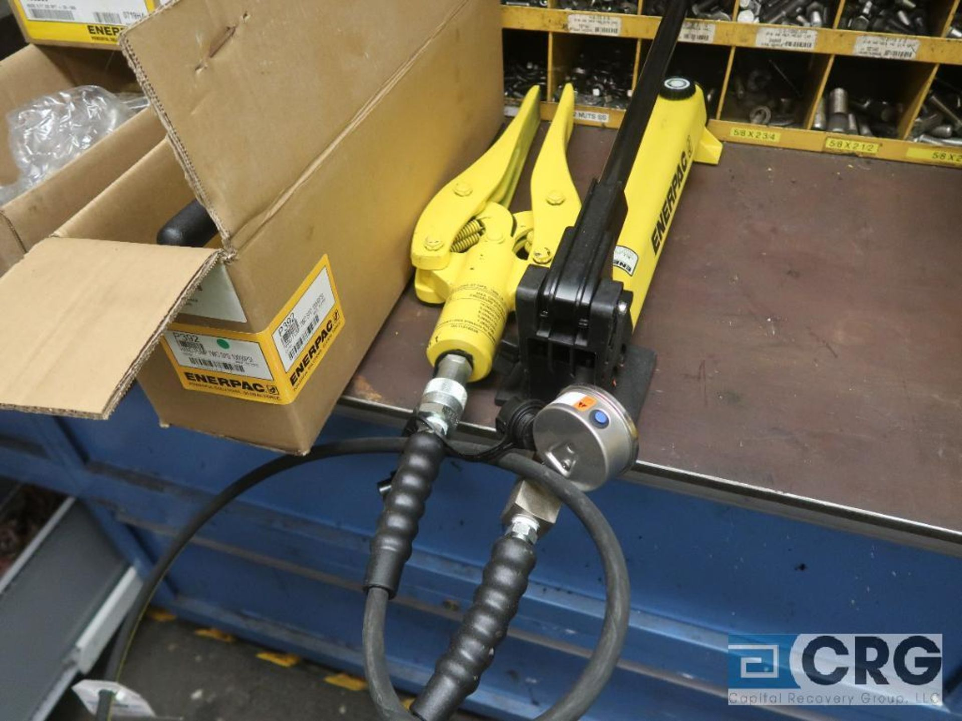 Lot of (2) Enerpac hydraulic hand pumps with (2) jaw jacks (Basement Stores)