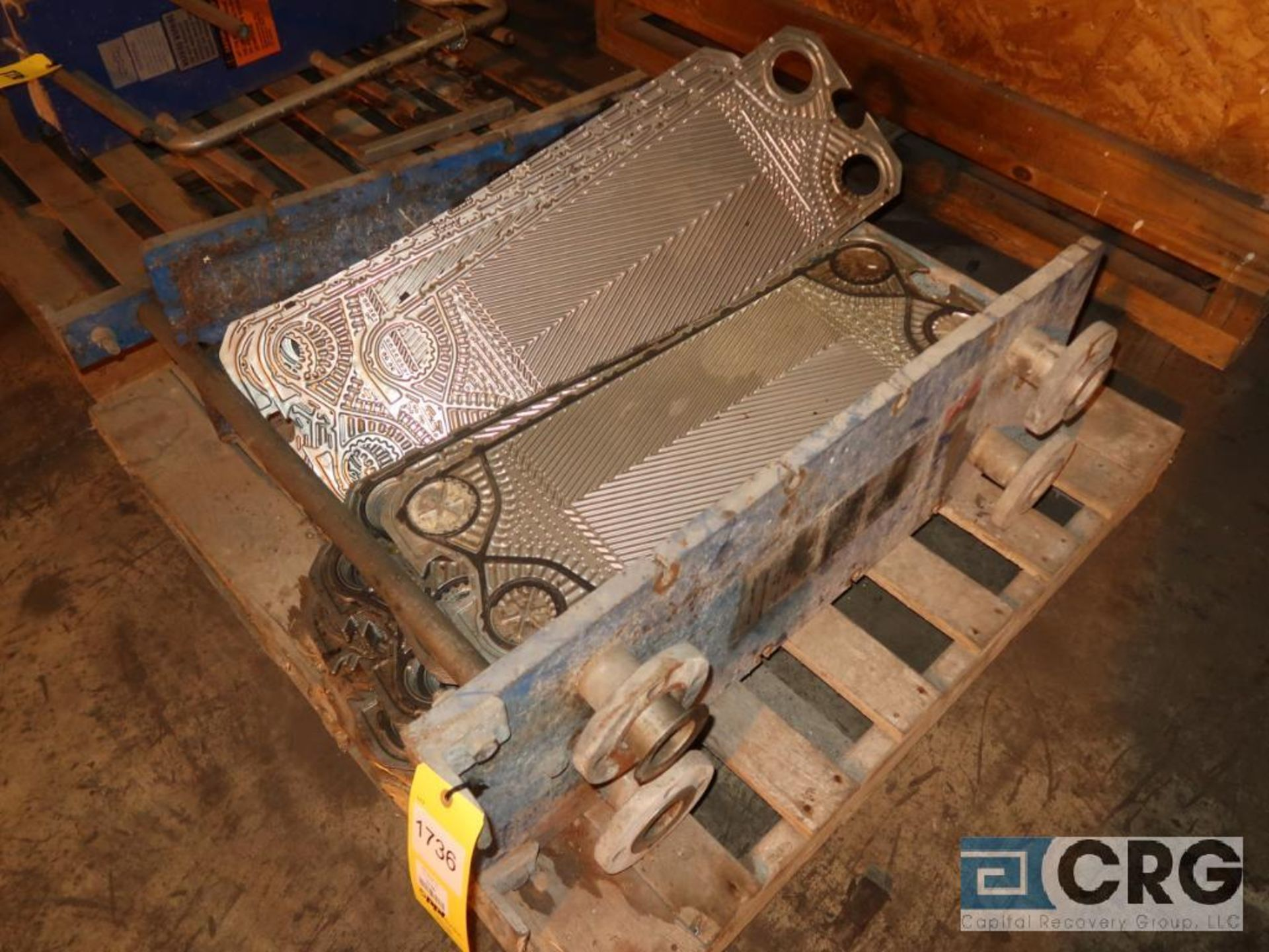 Lot of (2) stainless heat exchanger, (1) APV, and (1) Alfa Laval (Next Bay Cage Area)