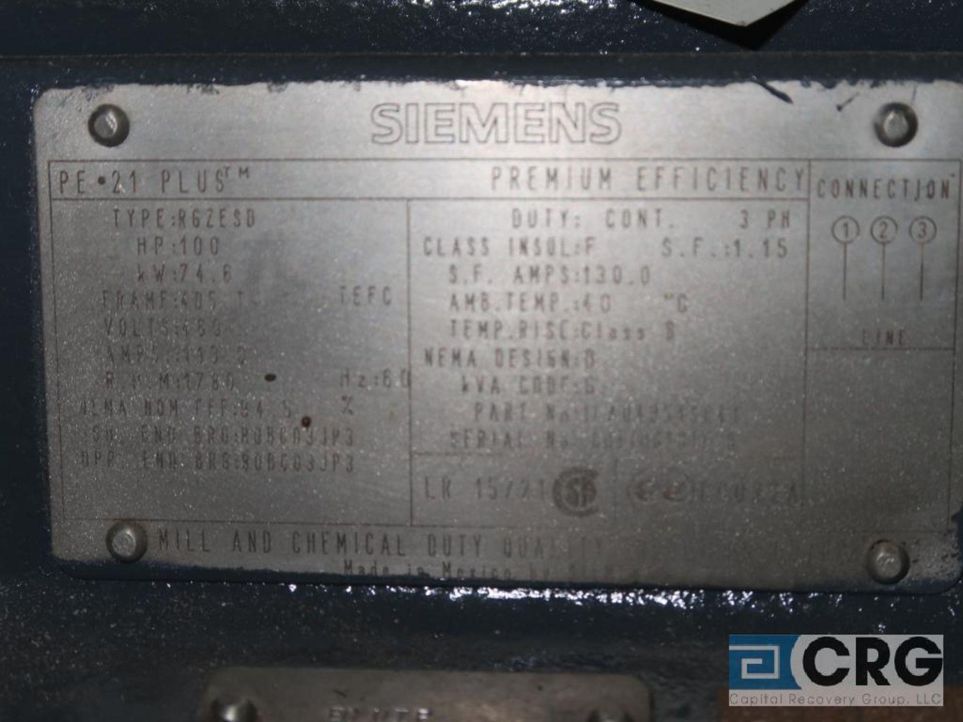 Siemens PE-21 PLUS motor, 100 HP, 1,780 RPMs, 460 volt, 3 ph., 405T frame (Finish Building) - Image 2 of 2