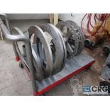 """Lot of ass't roll flanges including (4) 28"""", (2) 26"""", includes cart(Dandy Room)"""
