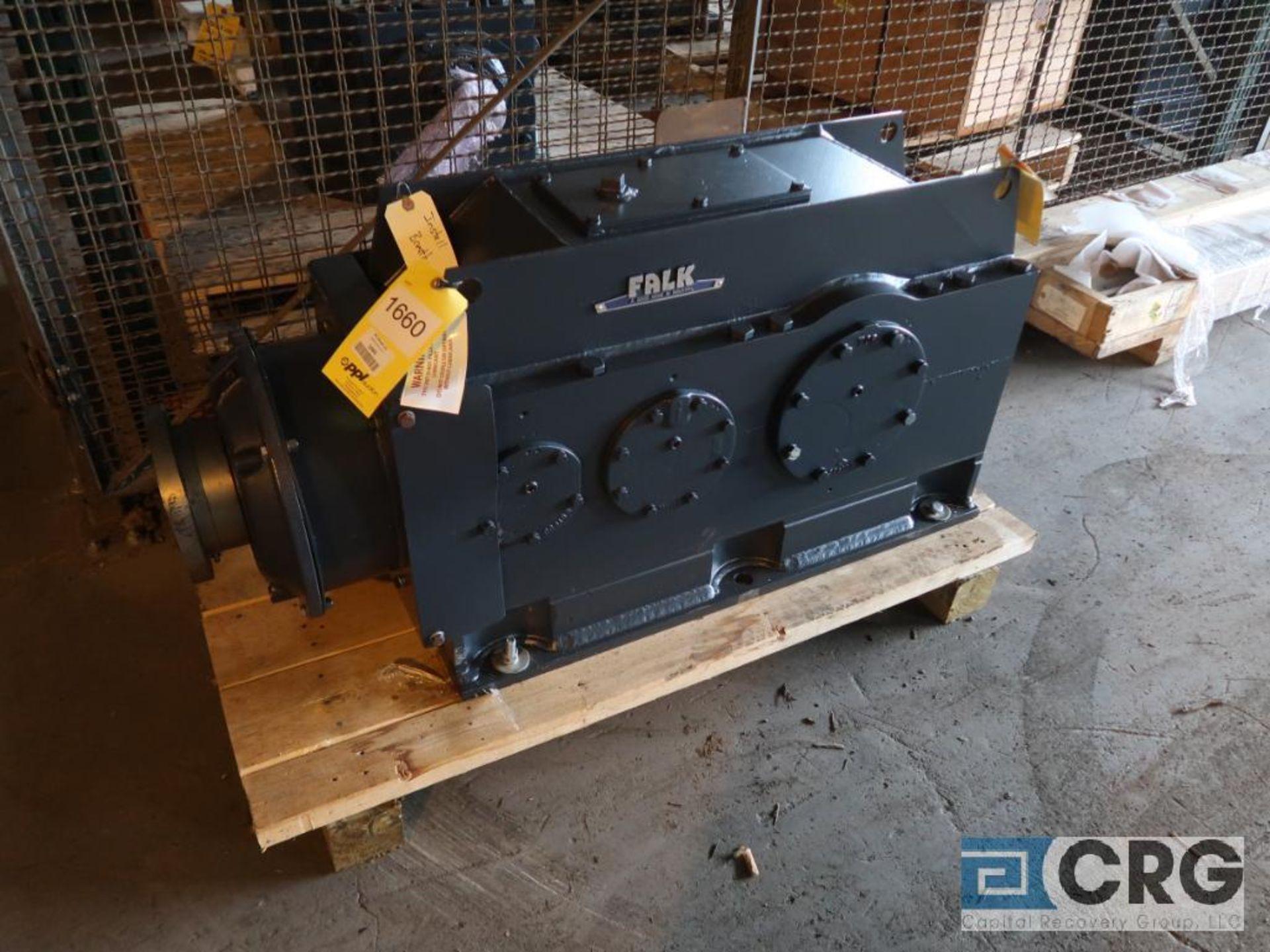 Falk 2080YB2 LB gear drive, ration-5.678, input RPM 1,800, output RPM 317, service rate HP. 125, s/n
