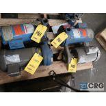 Lot of (4) centrifugal pumps including (2) 2 in. x 1 1/2 in with 5/3.5 HP, (1) 2 1/2 in. x 2 in.