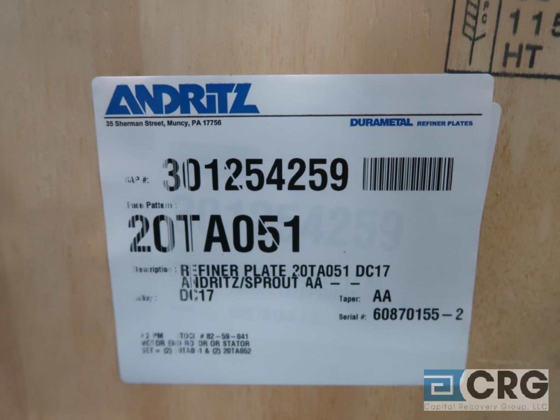 Lot of (4) Andritz 20TA051 refiner plates (Finish Building) - Image 2 of 2