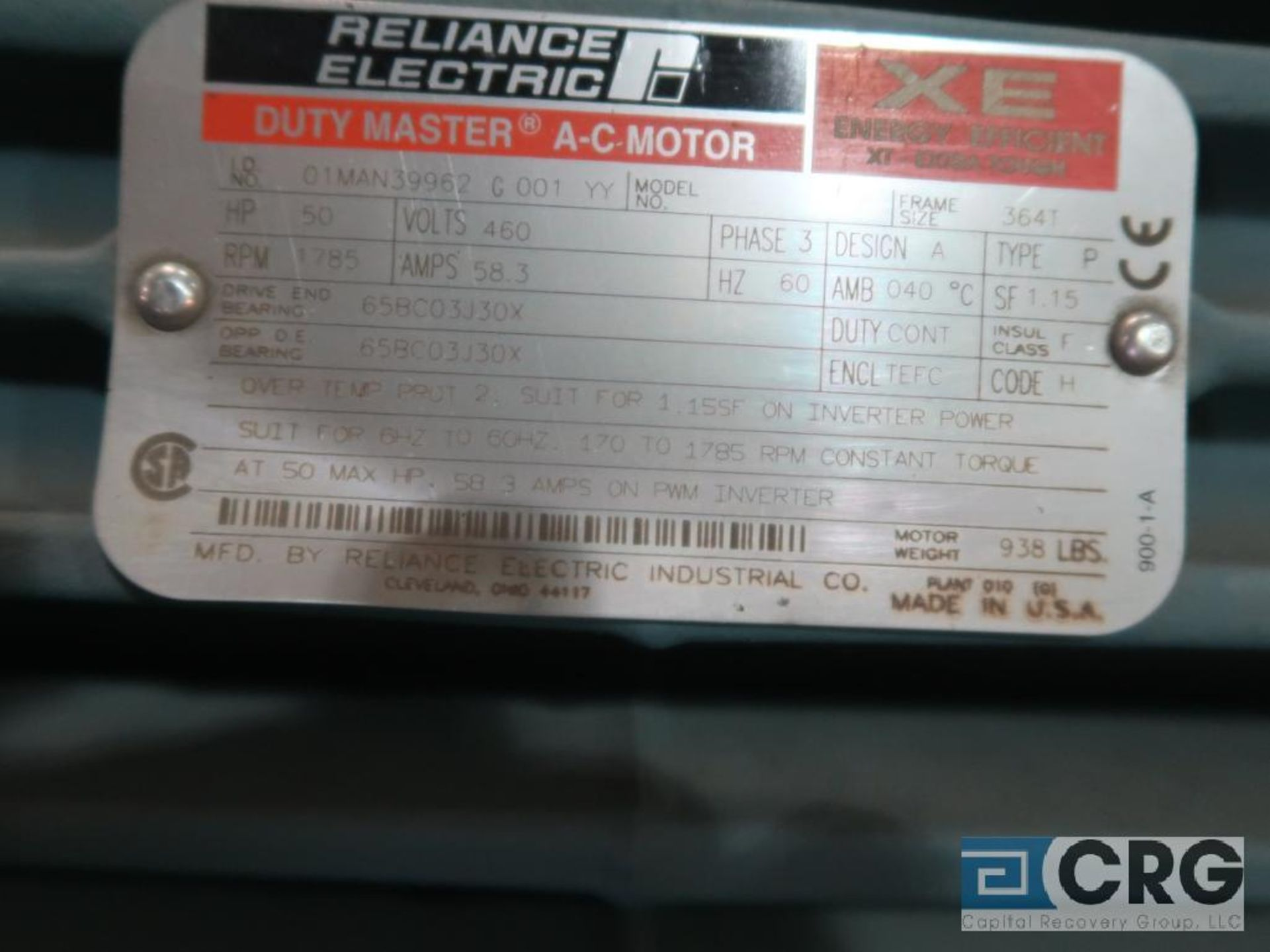 Reliance Electric Duty Master XE Extra Efficient A-C motor, 50 HP, 1,785 RPMs, 460 volt, 3 ph., 364T - Image 2 of 2