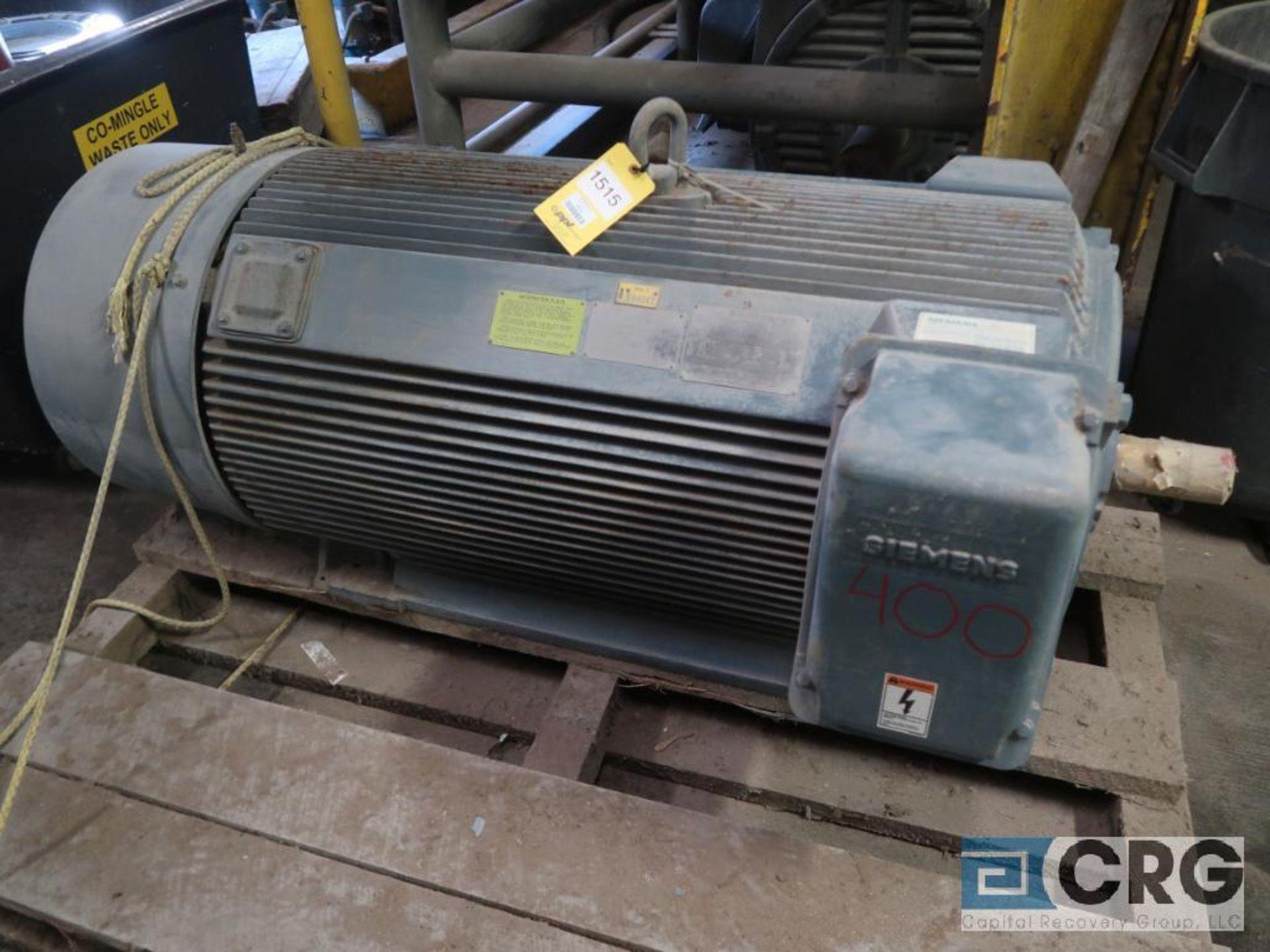 Siemens motor, 400 HP, 1,787 RPM, 2,300 volt, frame 5011, year 1992, s/n E11403-01-1, equipment #