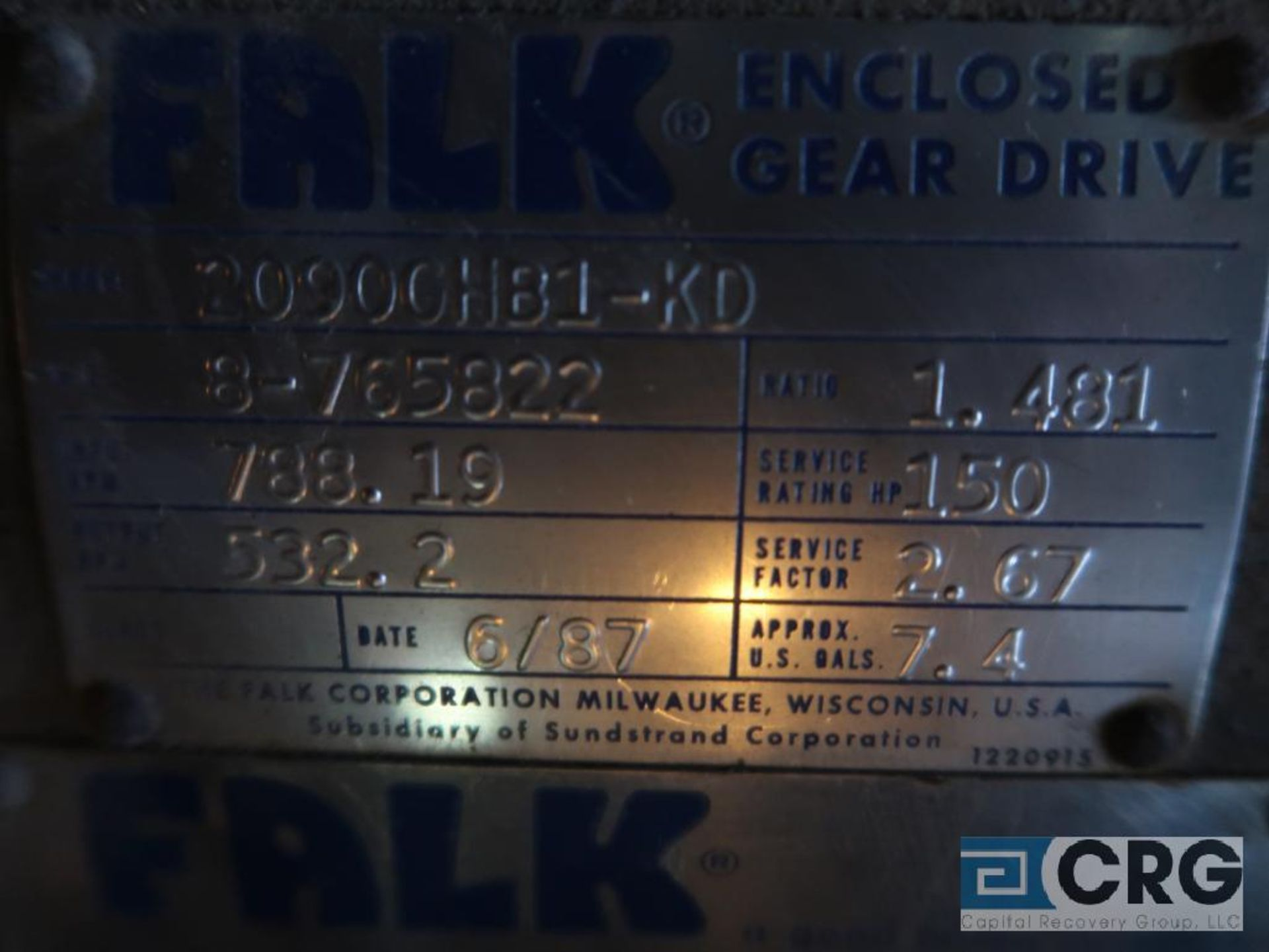 Falk 20906 GHB1 KD gear drive, ratio-1.481, input RPM 788.19, output RPM 532.2, service rate HP. - Image 2 of 2