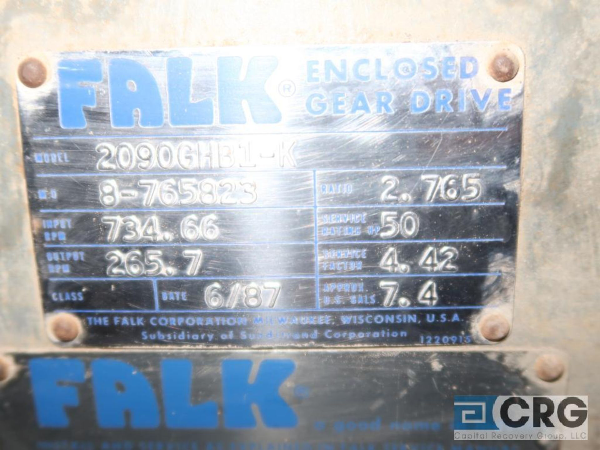 Falk 2090GHB1K gear drive, ratio-2.765, input RPM 734.66, output RPM 265.7, service rate HP. 50, s/n - Image 2 of 2