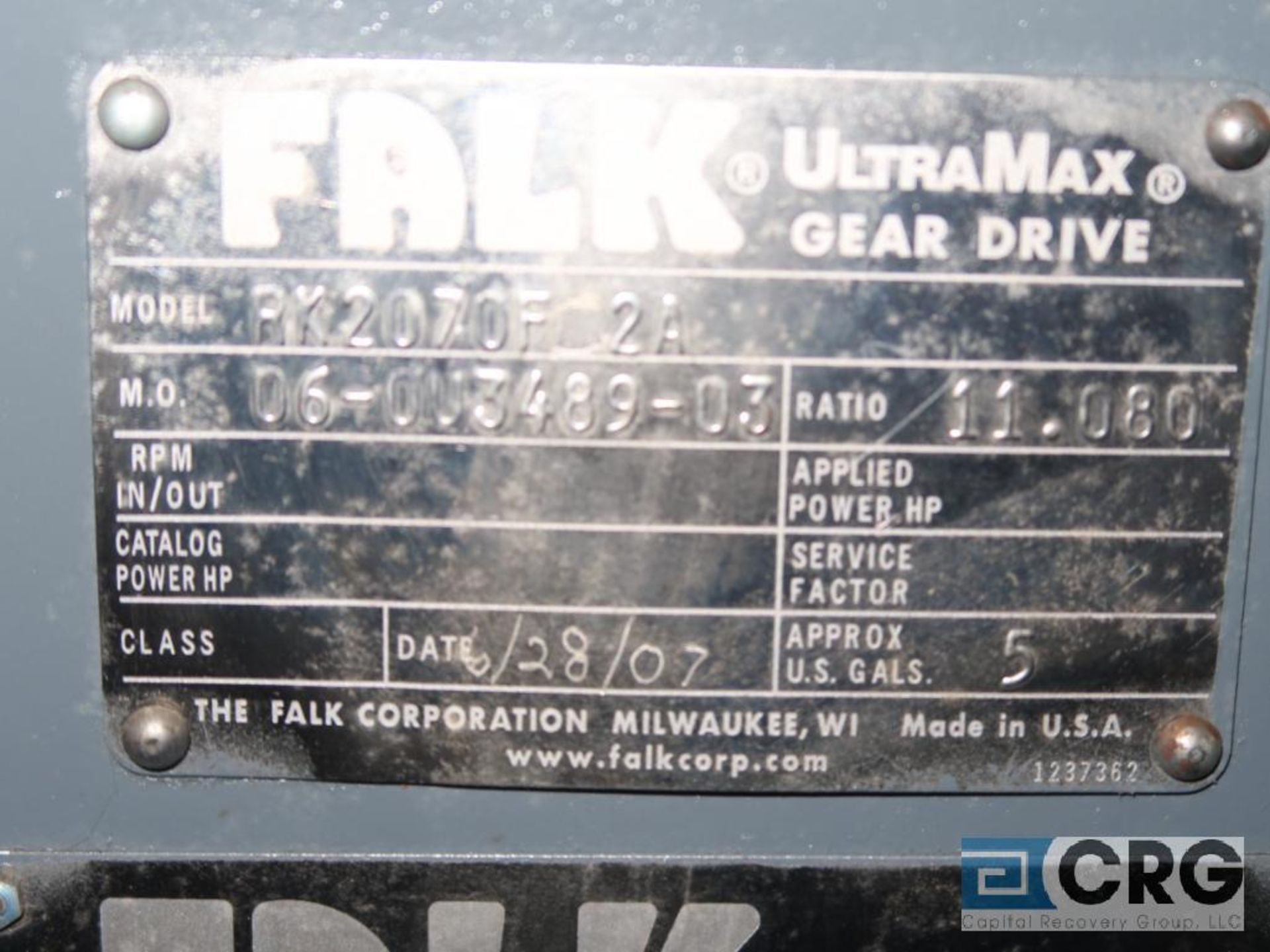 Falk RK 2070 FC2A gear drive, ratio-11.080, s/n 348903 (Next Bay Cage Area) - Image 2 of 2