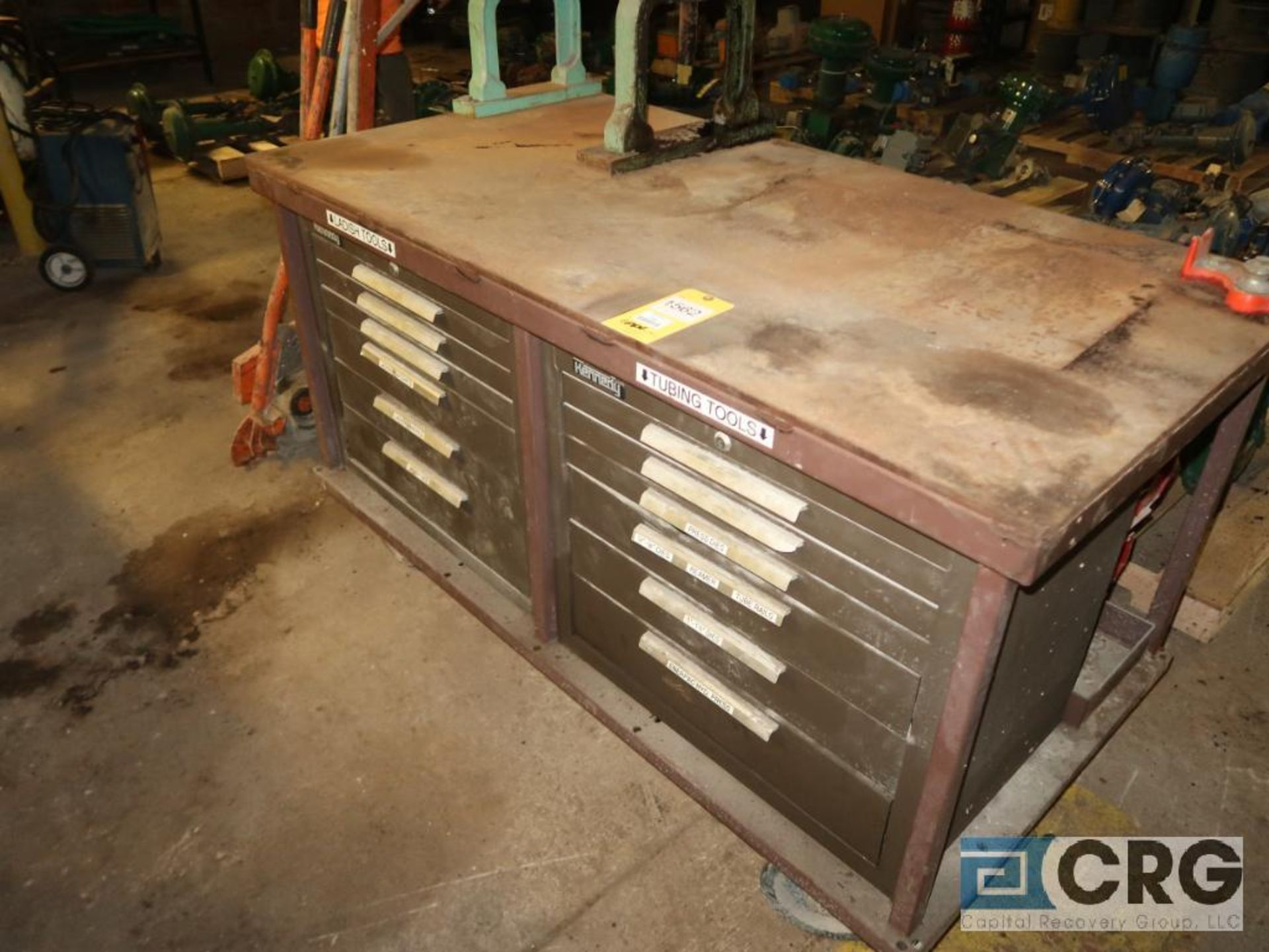Lot of miscellaneous items including (1) rolling 12 drawer workbench 61 in. x 32 in., and (2) manual