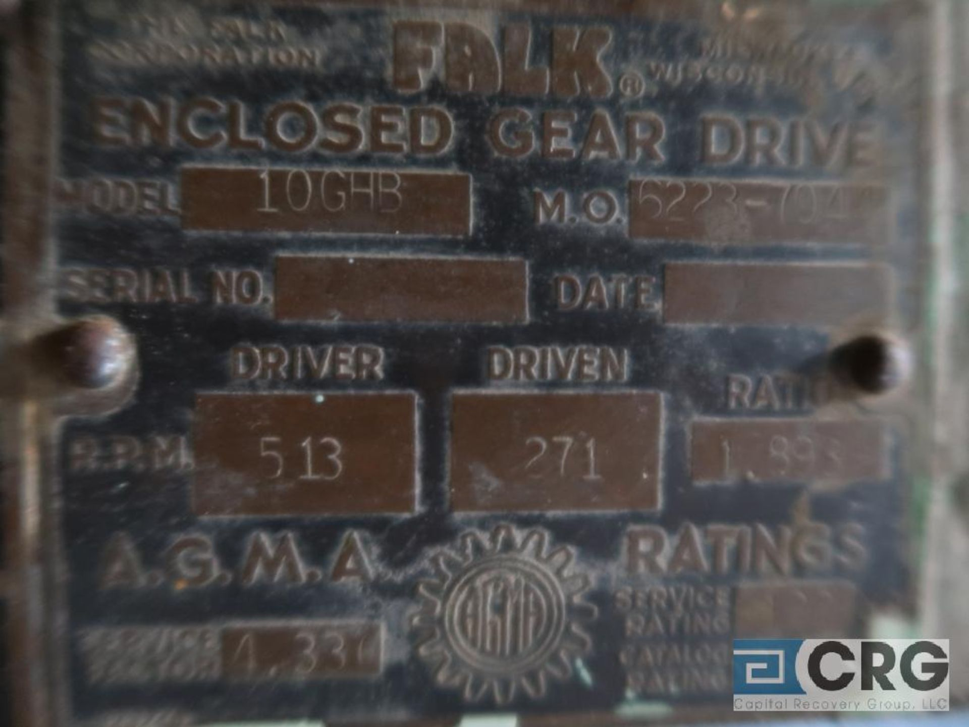 Falk 10GHB gear drive, ratio-3.529, RPM 513, s/n 622304 (Next Bay Cage Area) - Image 3 of 3