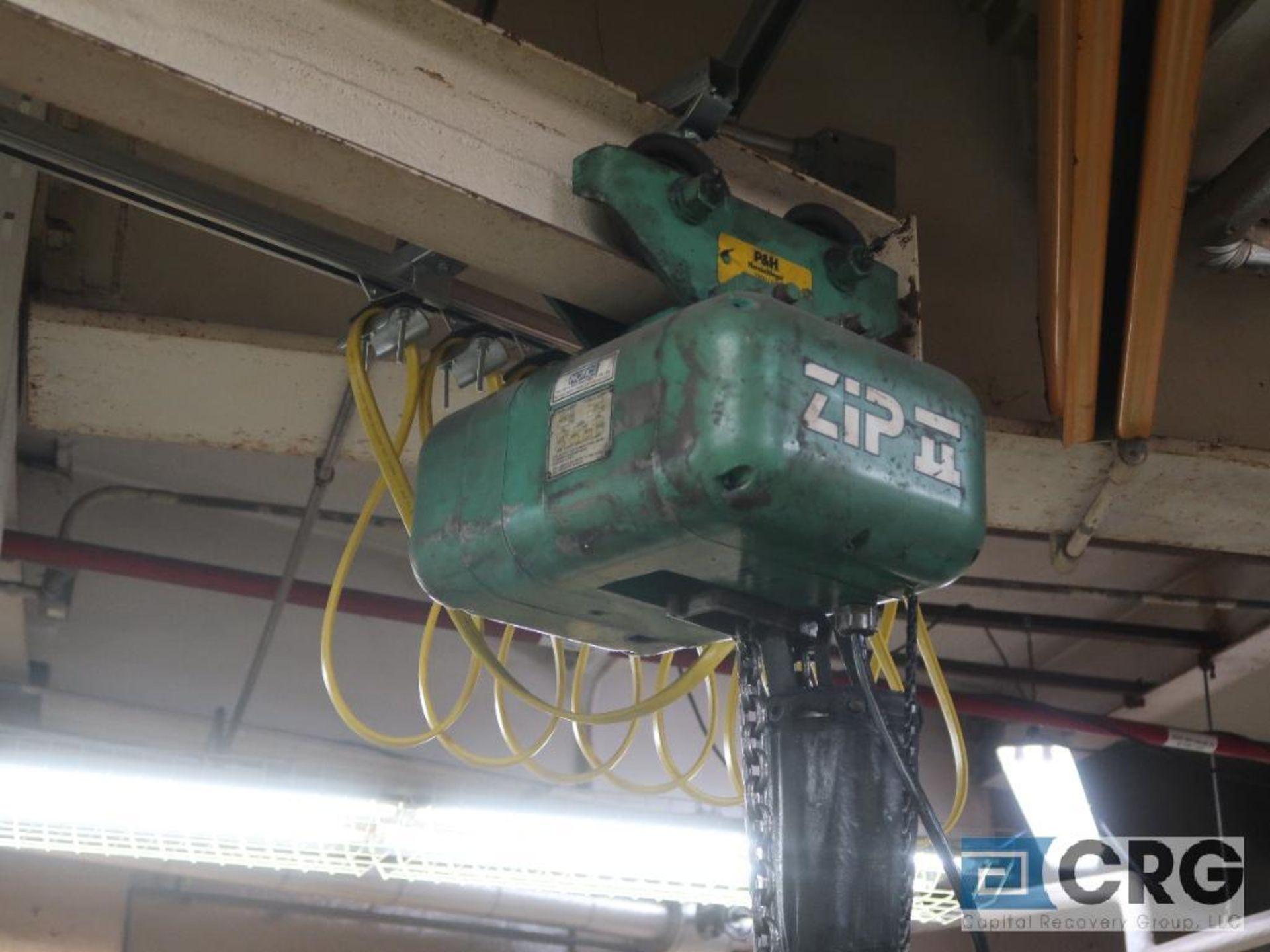 Lot of (2) chain hoists, (1) electric, 1 ton cap., and (1) manual, 1 ton cap.-no rail, hoist only (
