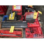 Lot of assorted hand tooling including ring pliers, socket set, torque wrenches, t-bar, and allen