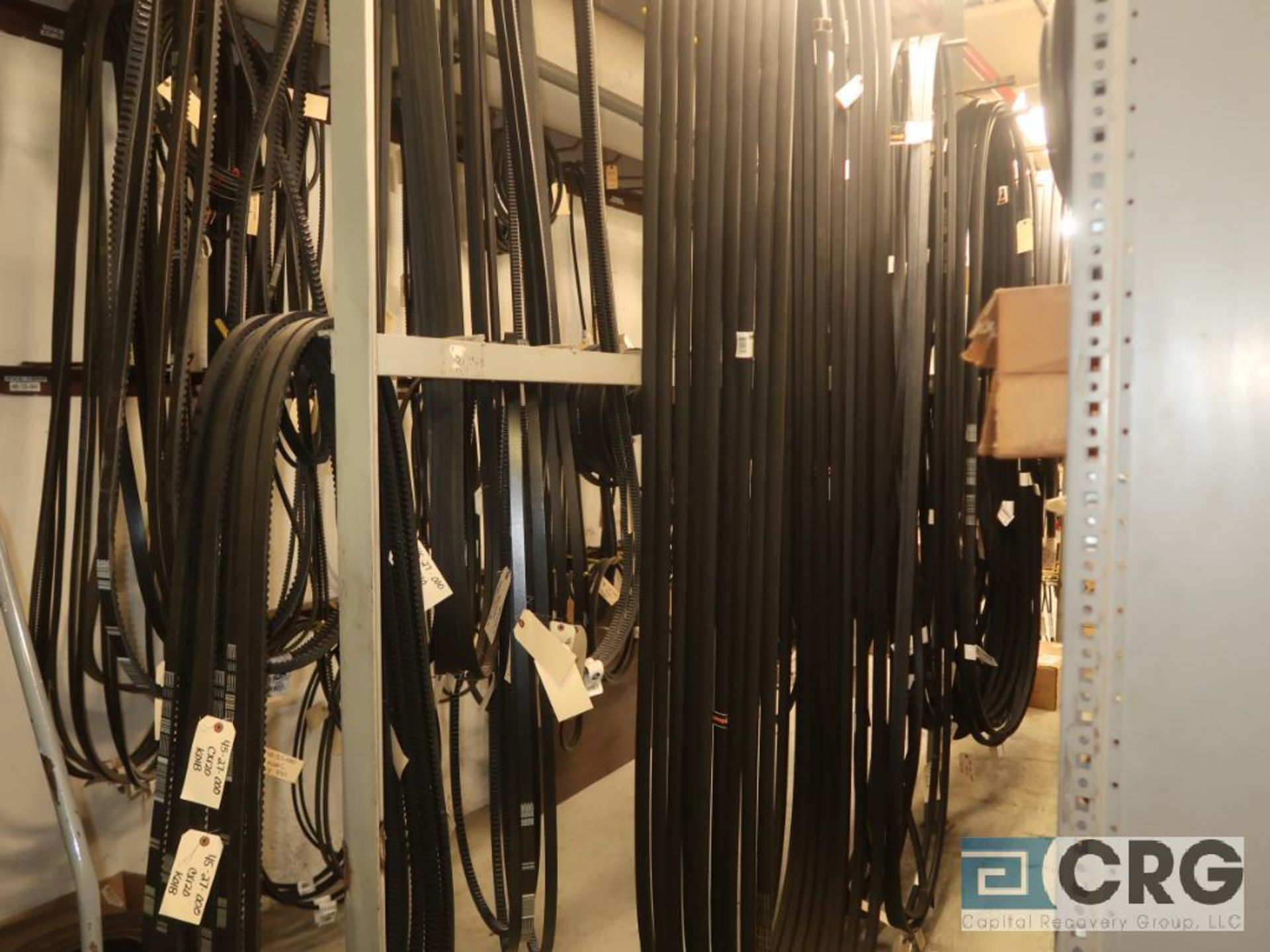 Lot of assorted V-belts hanging, and (6) metal shelving sections-CONTENTS ONLY (Store Basement) - Image 9 of 10