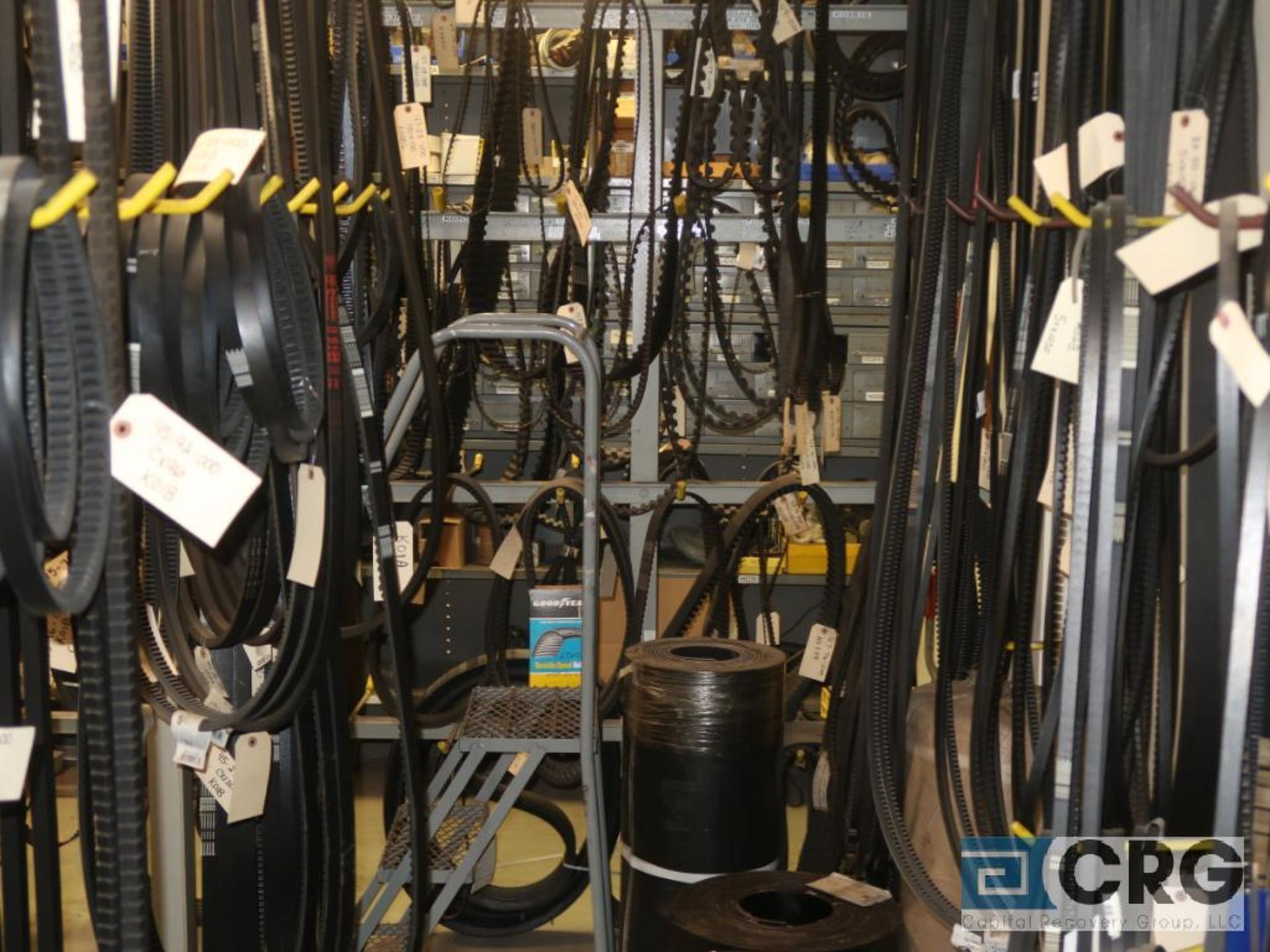 Lot of assorted V-belts hanging, and (6) metal shelving sections-CONTENTS ONLY (Store Basement) - Image 4 of 10