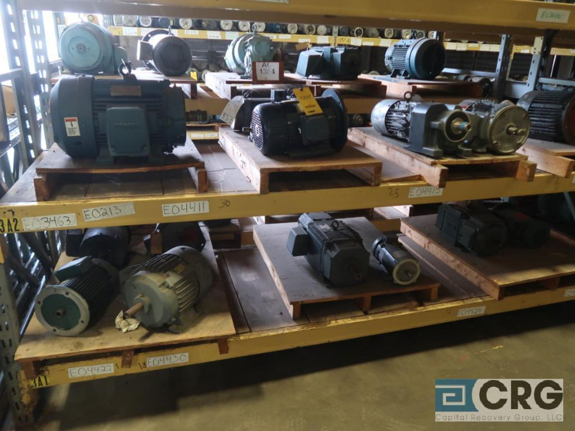 Lot of (63) assorted 5 HP and smaller motors on (8) shelves (Motor Building)