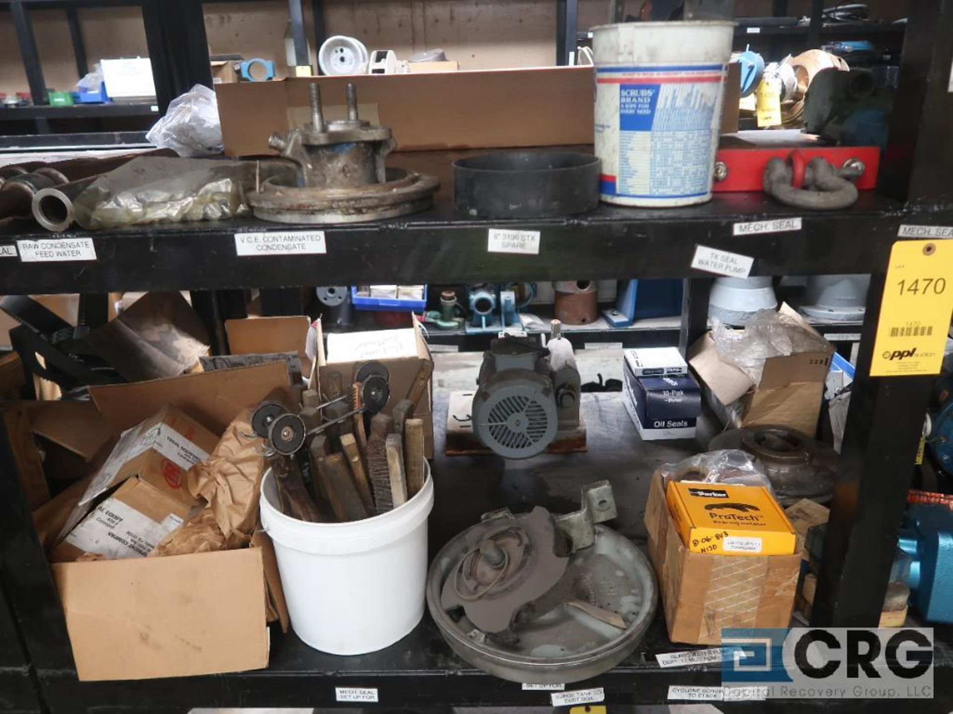 Lot of assorted parts on (4) sections and on wood shelving including motor, guards, housing, pump - Image 2 of 20