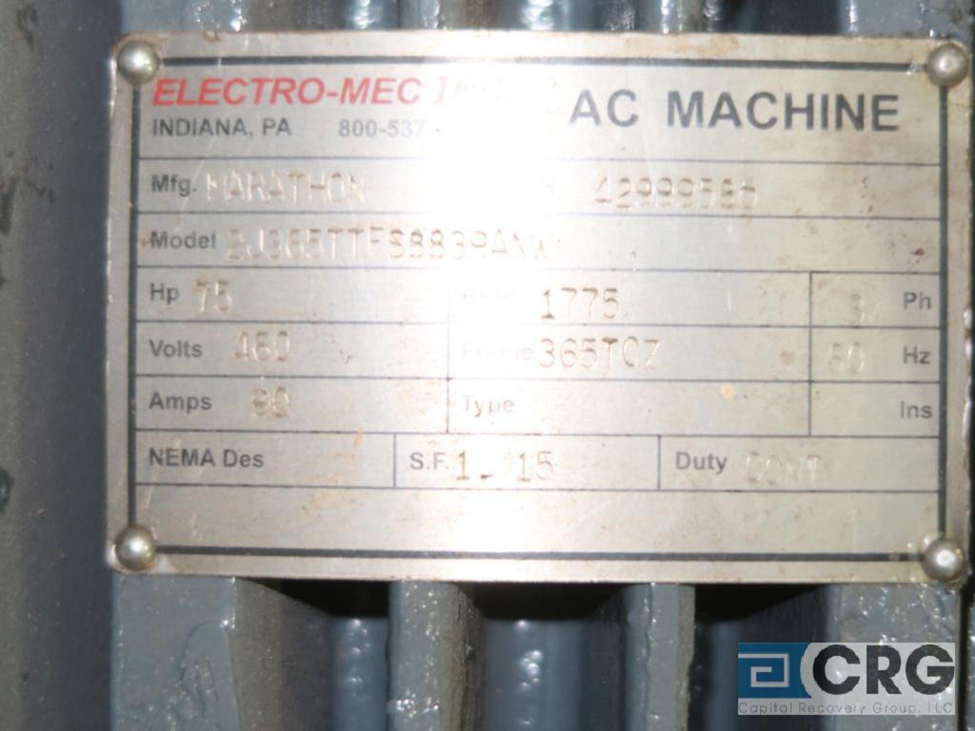 Marathon AC machine motor, 75 HP, 1,775 RPMs, 460 volt, 3 ph., 365TCZ frame (Finish Building) - Image 2 of 2