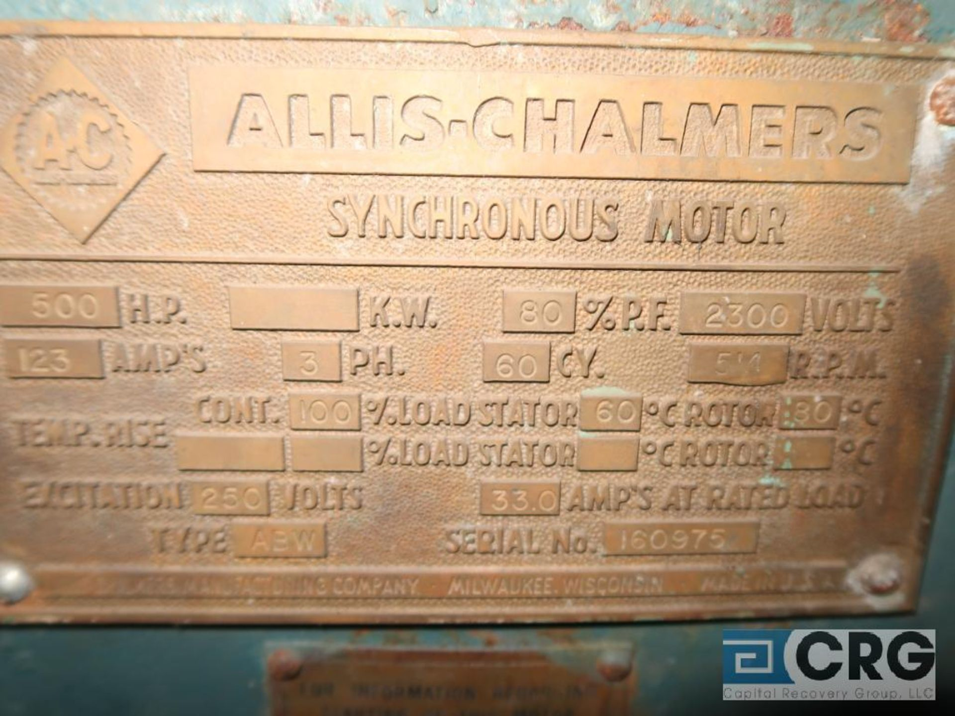 Allis Chalmers 500 HP motor, 2,300 volt, 3 ph., 514 RPM, s/n 160975 (Off Site Warehouse) - Image 2 of 2