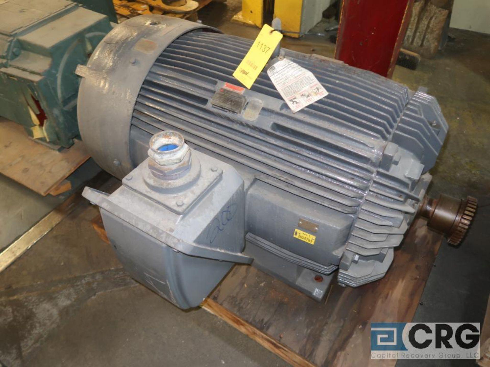 Teco Electric induction motor, 200 HP, 3,570 RPMs, 2,300/4,160 volt, 3 ph., 449TS frame (Finish