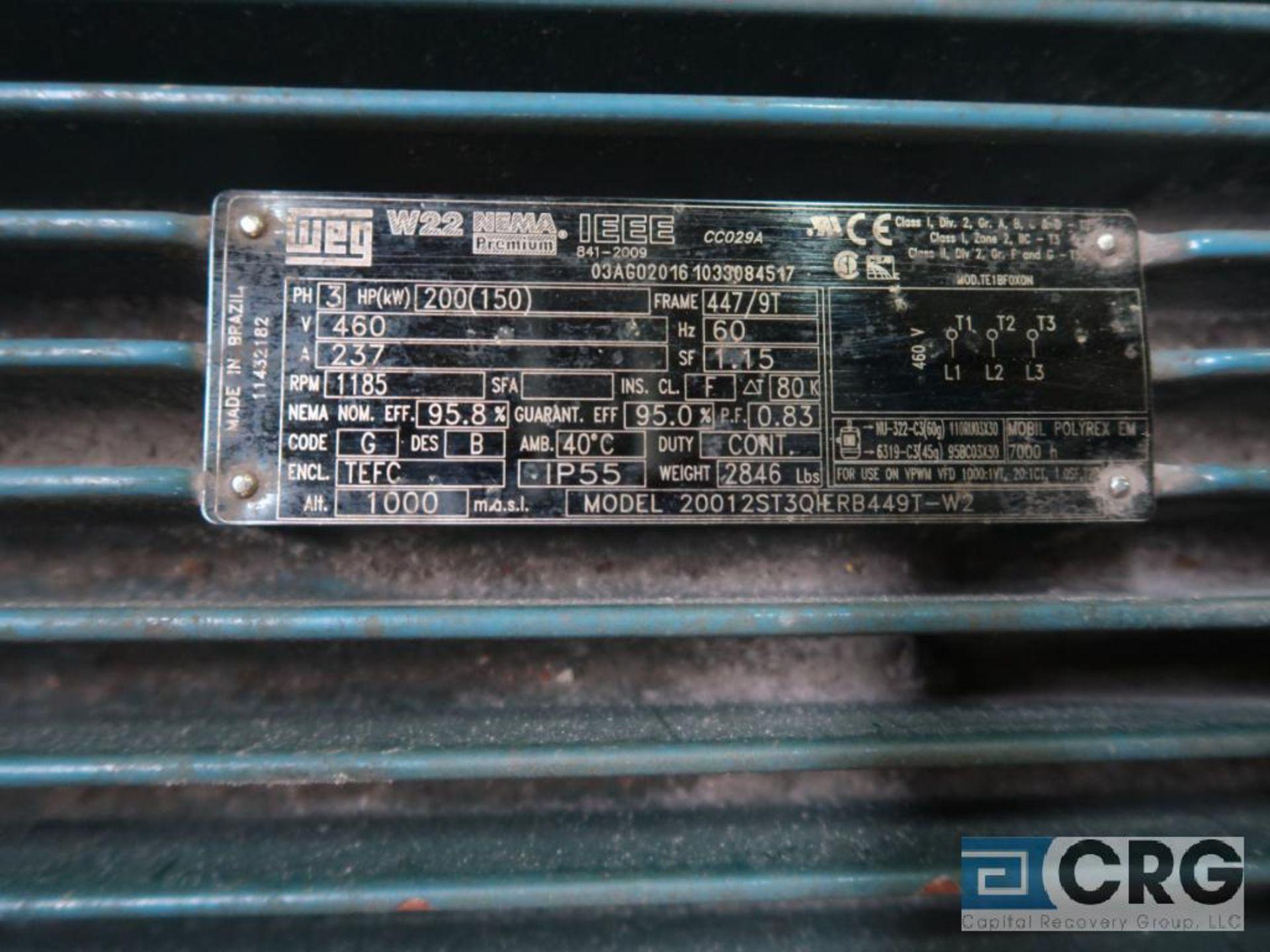 WEG electric motor, 200 HP, 1,185 RPMs, 460 volt, 3 ph., 447/9T frame (Finish Building) - Image 2 of 2