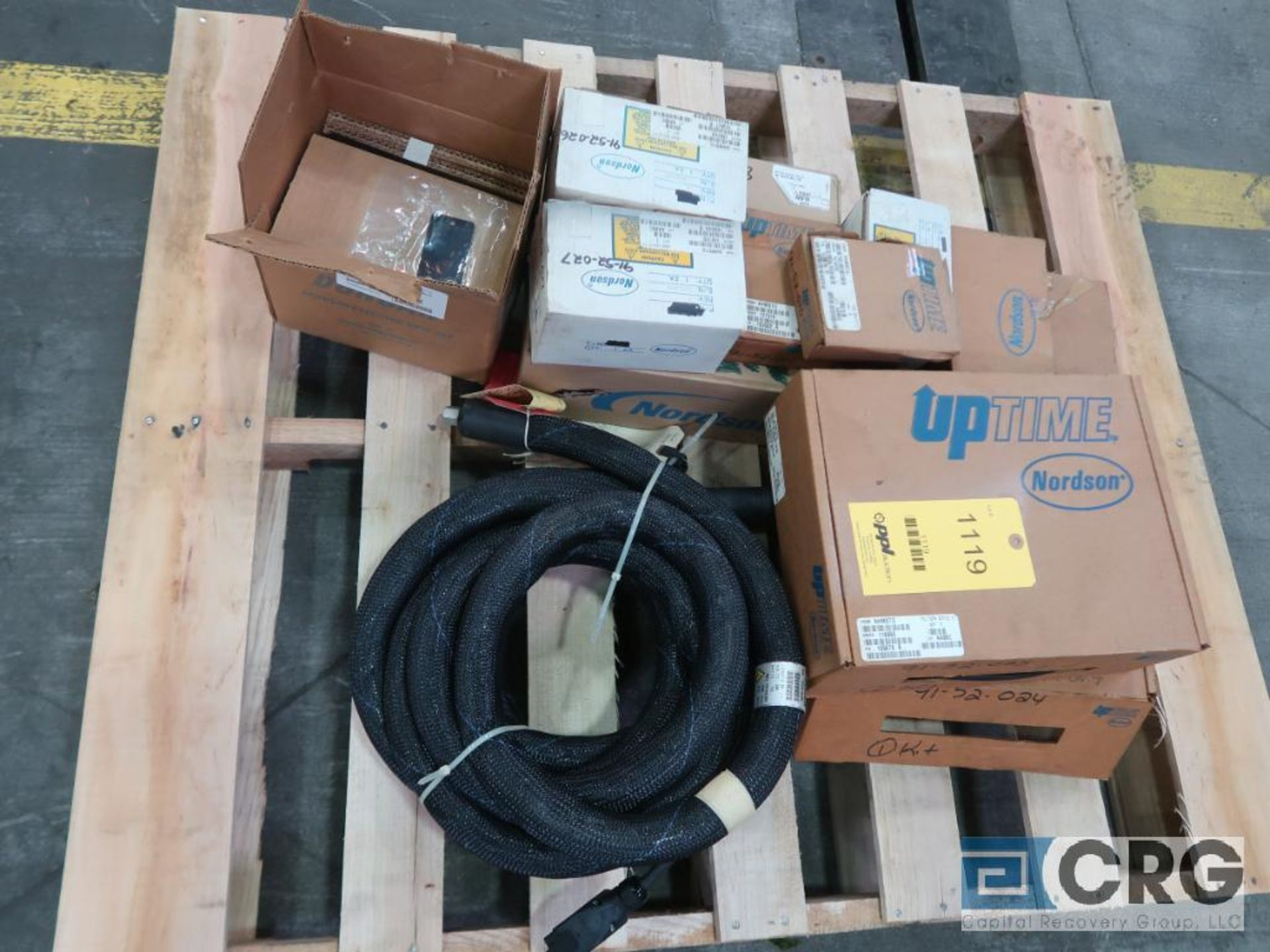 Lot of Nordson assorted parts including hoses and electrical (Finish Building)