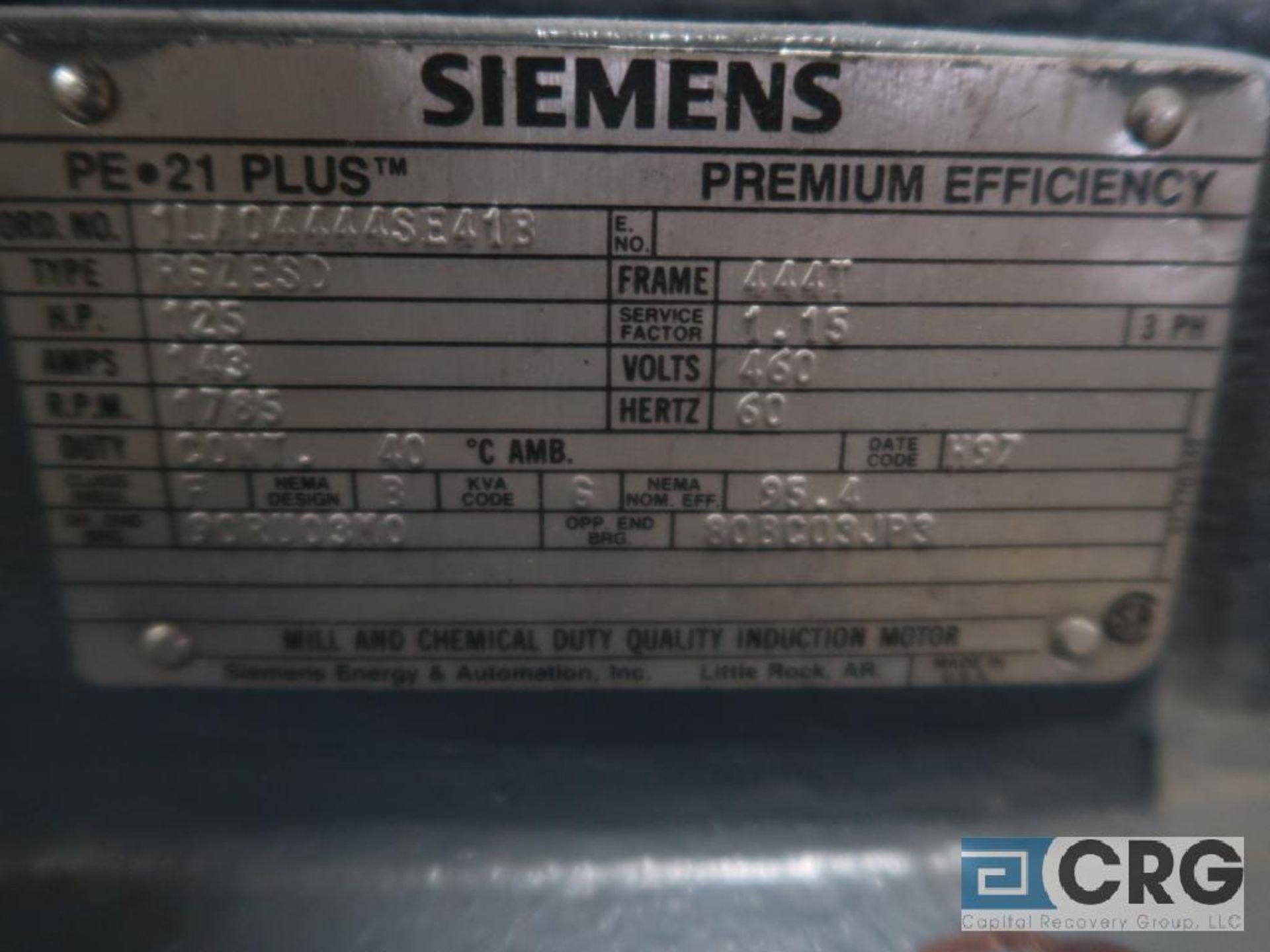Siemens Premium Efficiency 21 PLUS motor, 125 HP, 1,785 RPMs, 460 volt, 3 ph., 444T frame (Finish - Image 2 of 2