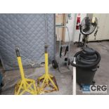 Lot including cylinder cart, (2) roll stands, 6 HP shop vac, fan, (2) 2-door cabinets, desk, and (2)