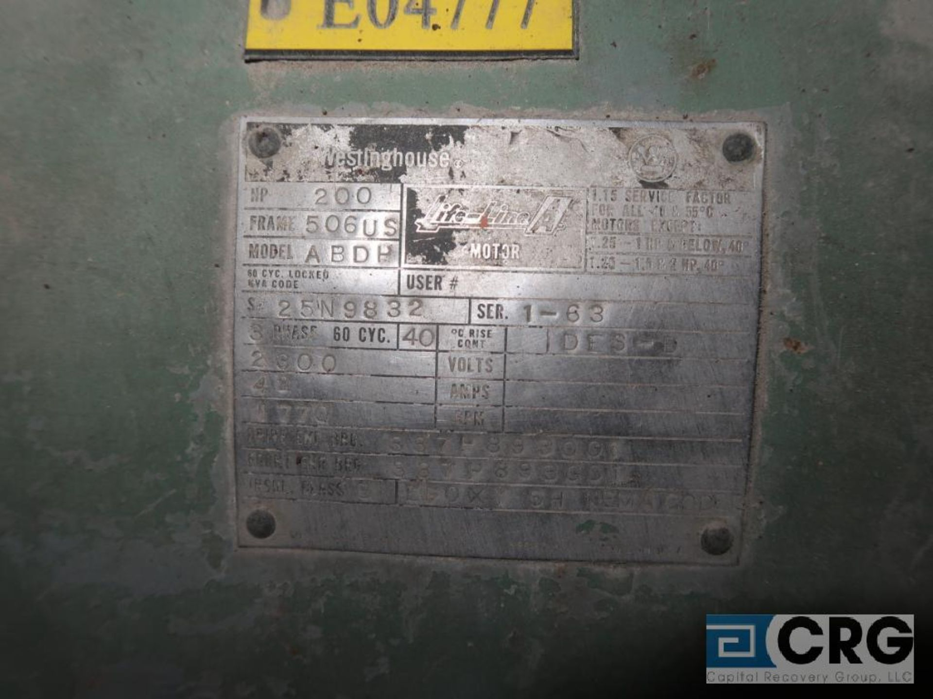 Westinghouse motor, 200 HP, 1,770 RPM, 2,300 volts, frame 506US, equipment #E04777 (496 Dock Area) - Image 2 of 2