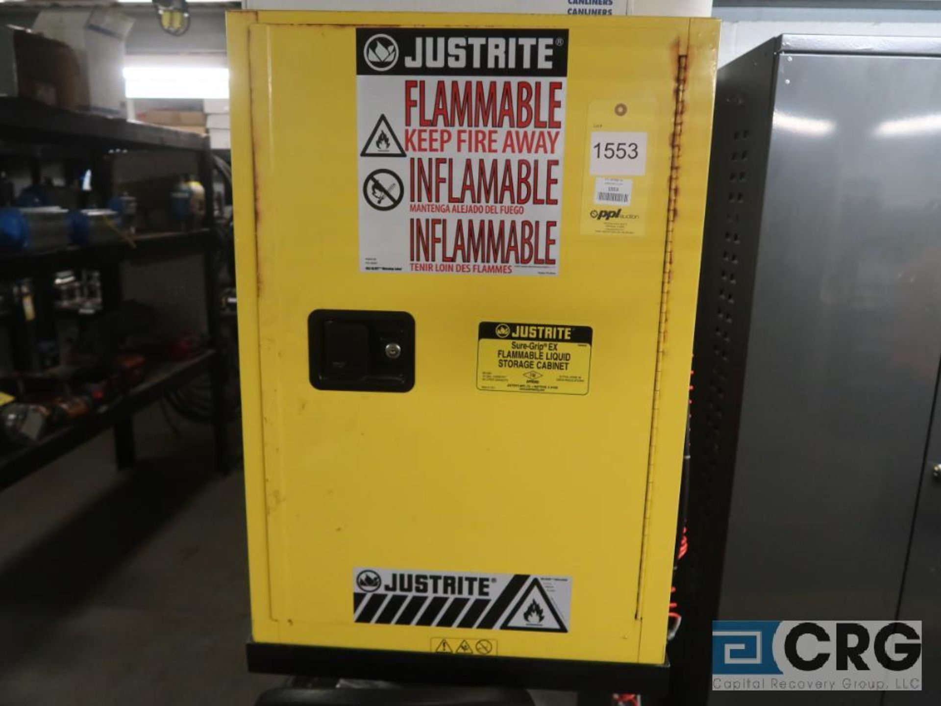 Justrite flammable storage cabinet, 12 gal. cap. (Inside Shop-496 Dock Area)