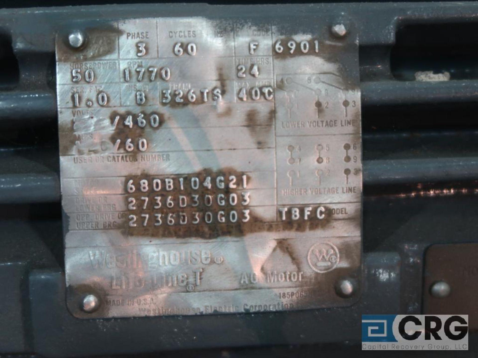 Westinghouse Life-Line T AC motor, 50 HP, 1,770 RPMs, 460 volt, 3 ph., 326TS frame (Finish - Image 2 of 2