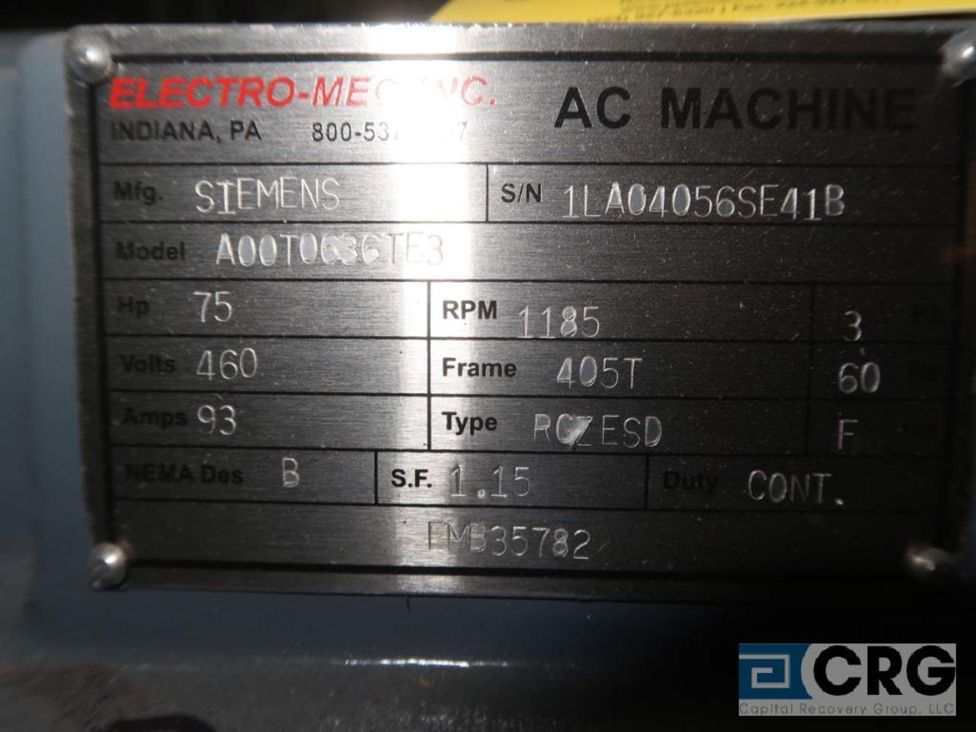 Siemens AC Machine motor, 75 HP, 1,185 RPMs, 460 volt, 3 ph., 405T frame (Finish Building) - Image 2 of 2