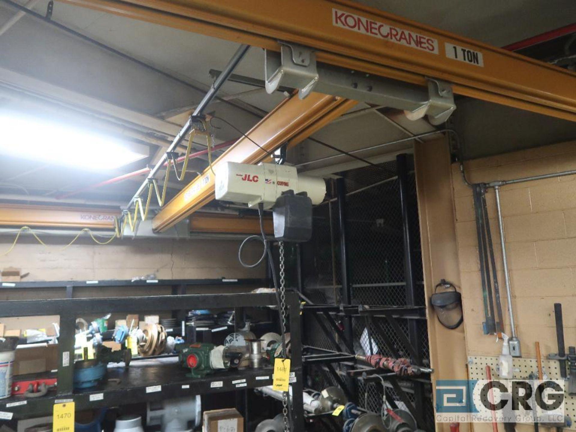 Konecrane bridge crane with coffin, JLC electric chain hoist, 16 ft. W x 22 ft. L, 1 ton cap. ( - Image 2 of 3