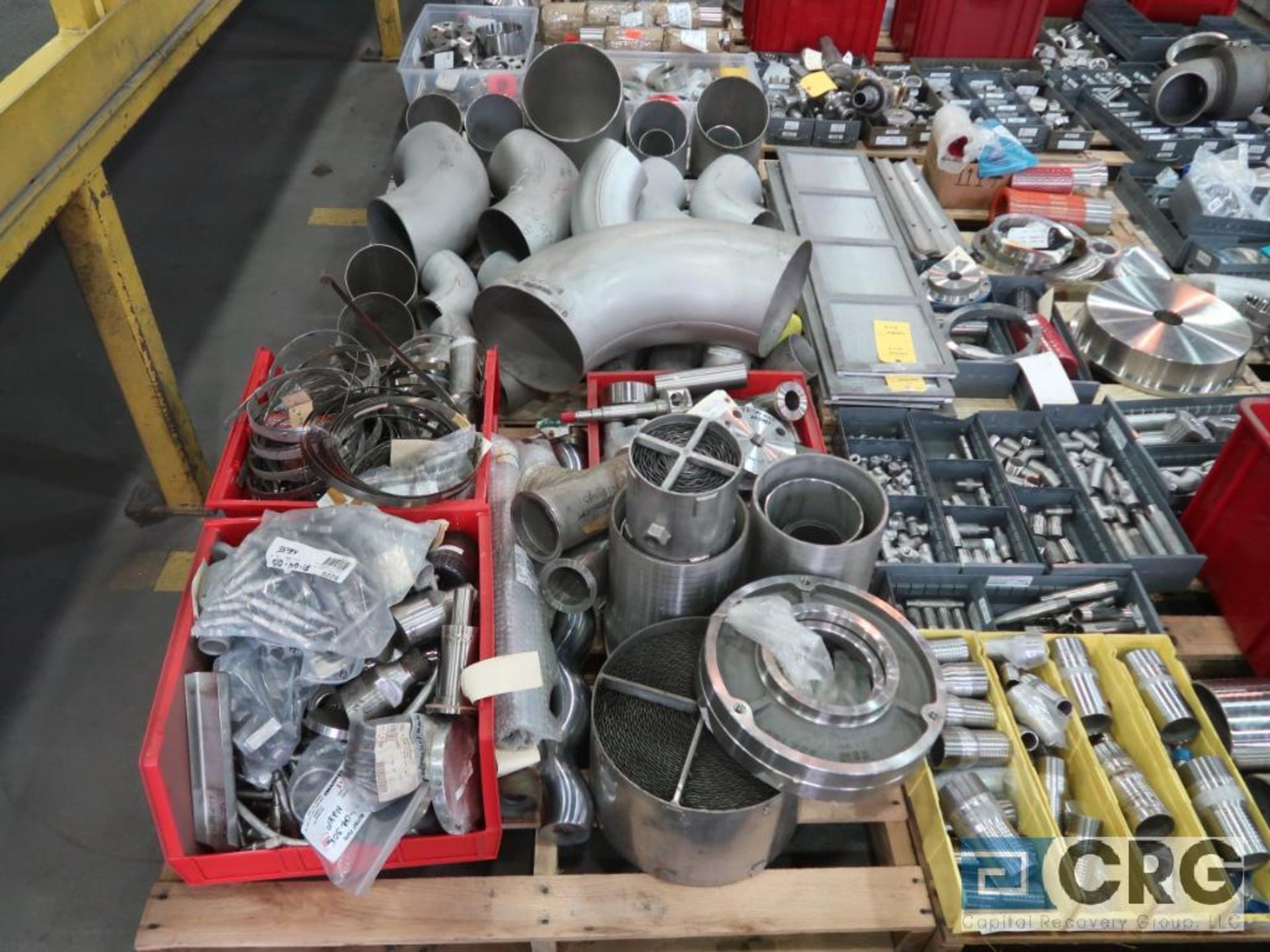 Lot of (14) pallets of stainless fittings, clamsps, couplers, and flanges (Finish Building) - Image 2 of 5