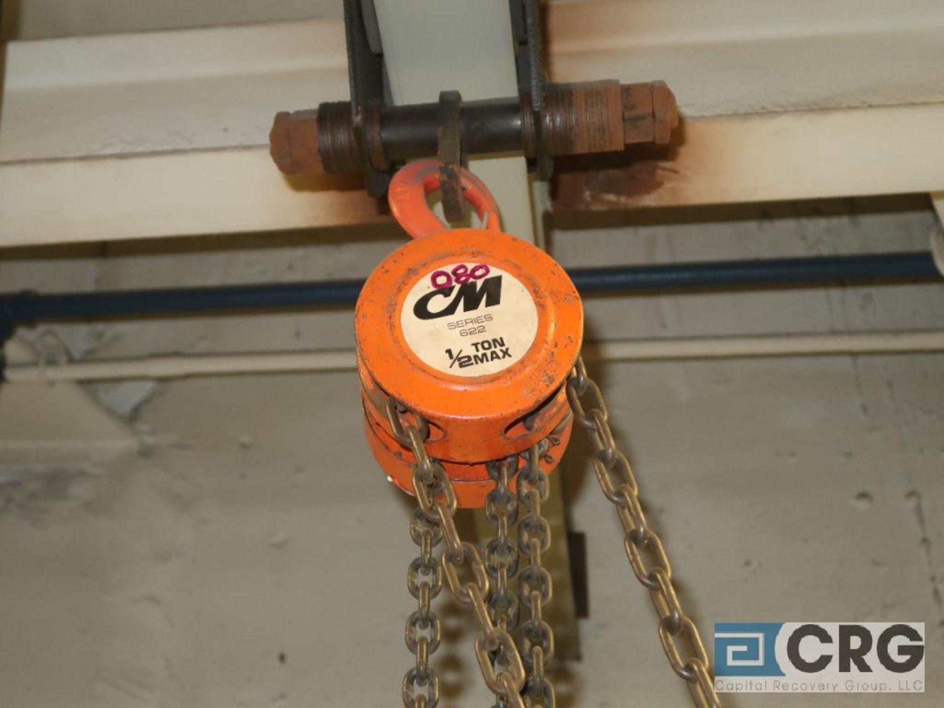 Lot of (3) chain hoists, 1/2 ton cap.-no rail (Basement Stores)