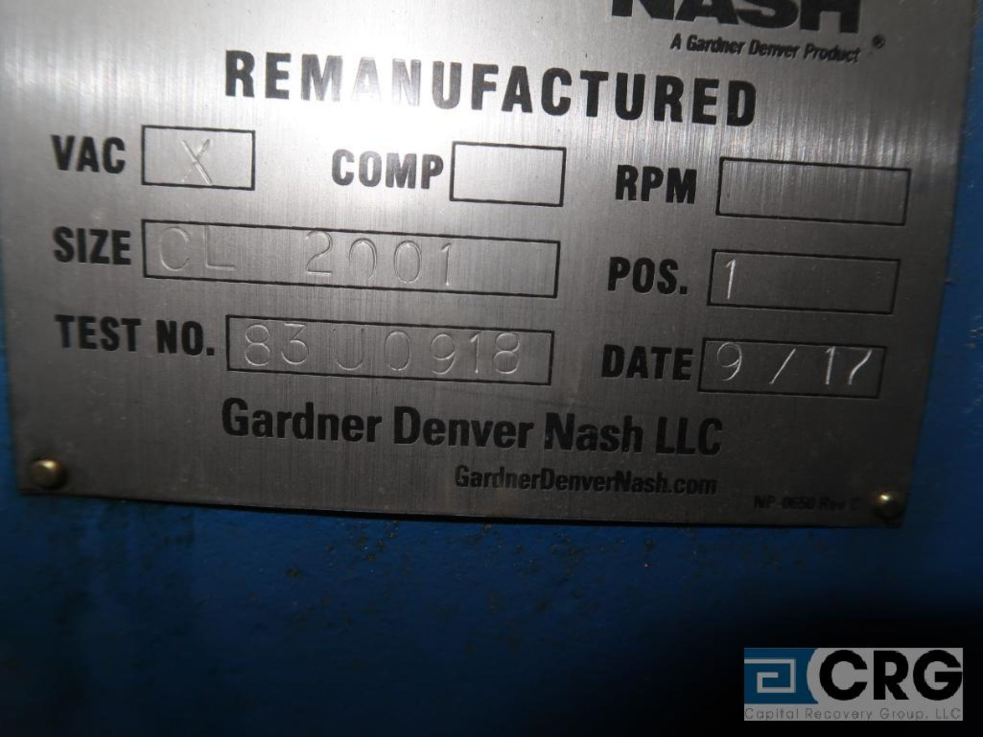 Nash CL2001 vacuum pump, remanufactured year 2017 (Off Site Warehouse) - Image 2 of 2
