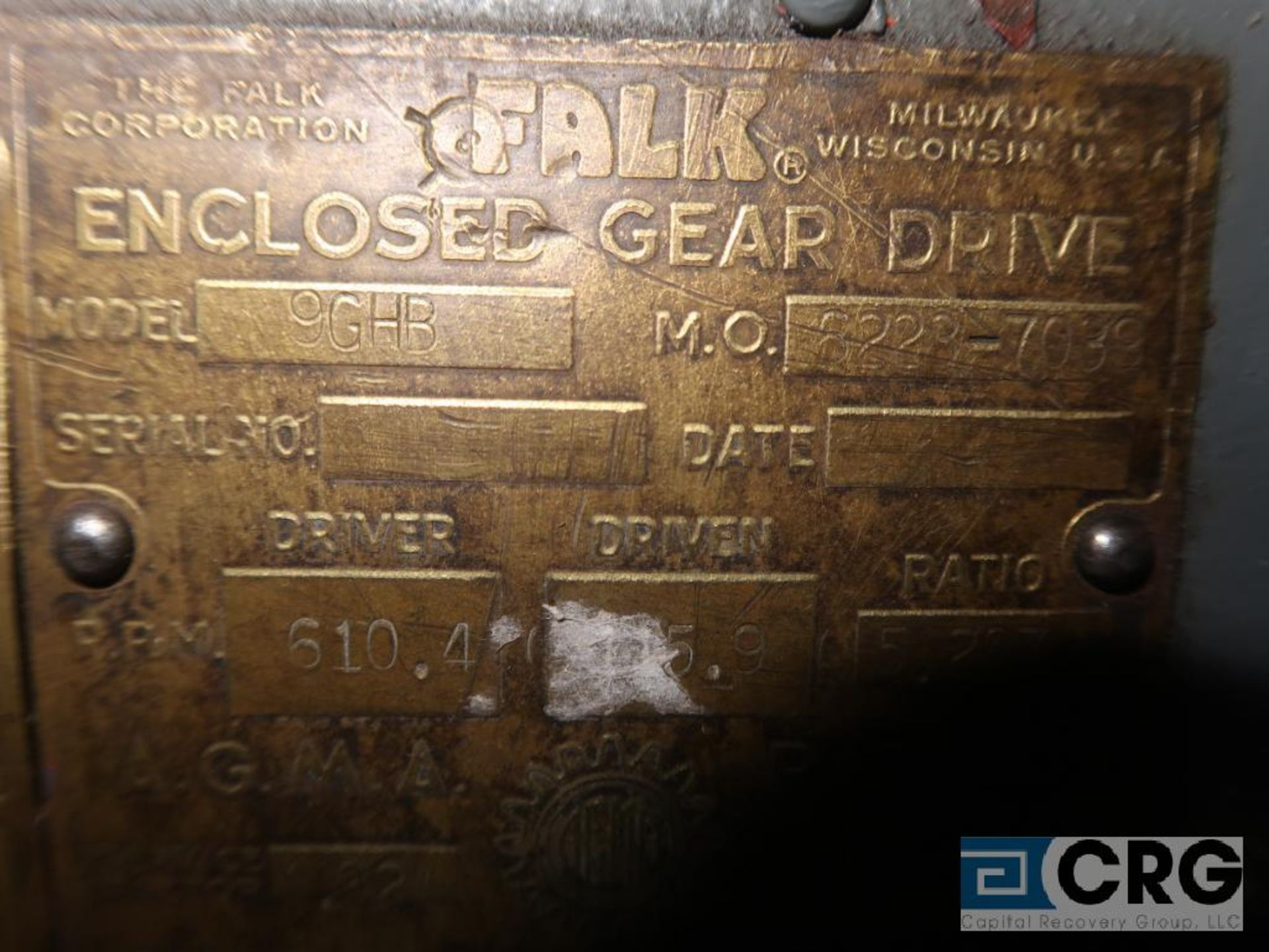 Falk 9GHR gear drive, ratio-5.267, RPM 610.4, s/n 62237039 (Next Bay Cage Area) - Image 3 of 3