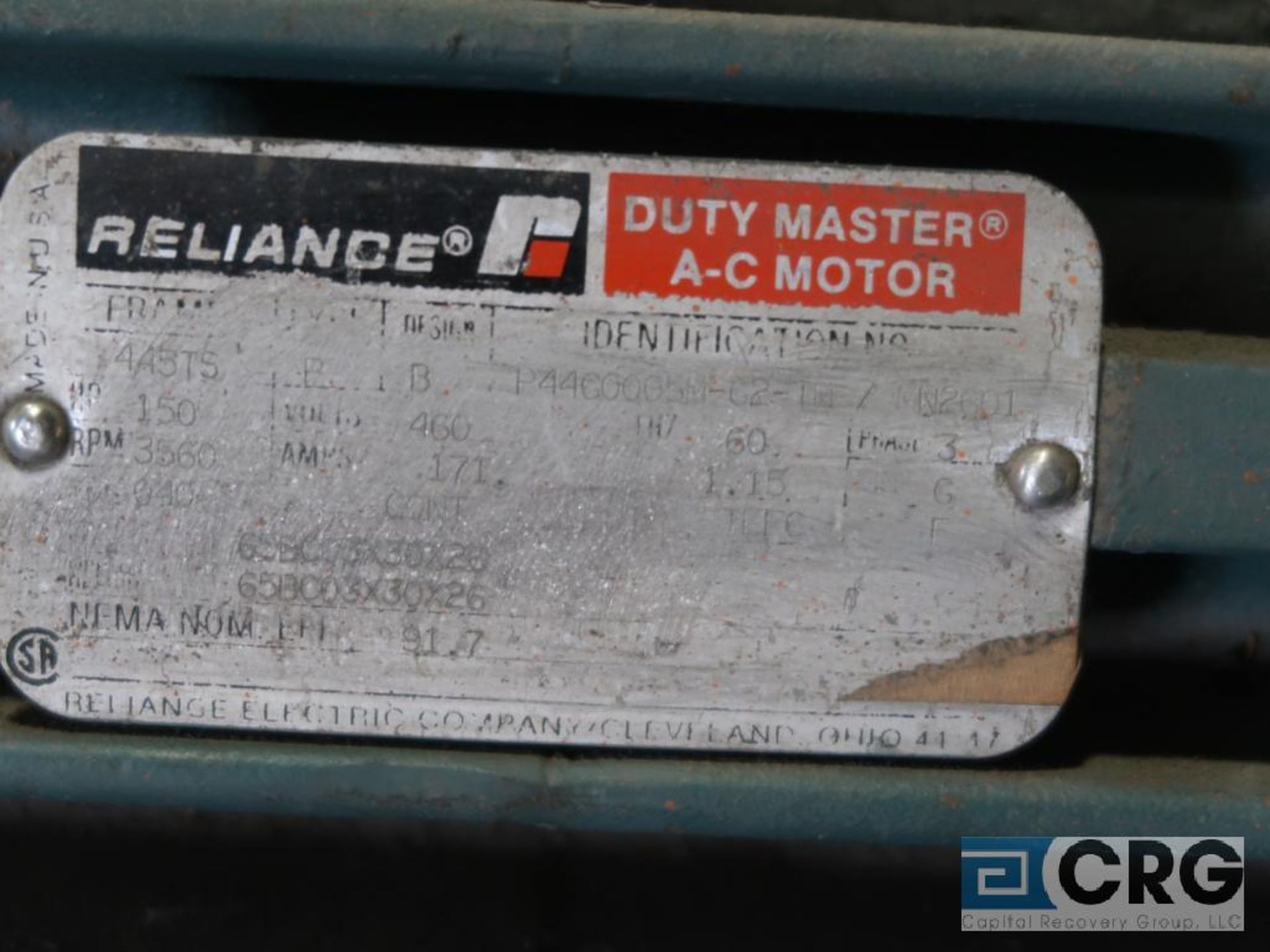 Reliance Duty Master A-C motor, 150 HP, 3,570 RPMs, 460 volt, 3ph., 445TS frame (Finish Building) - Image 2 of 2
