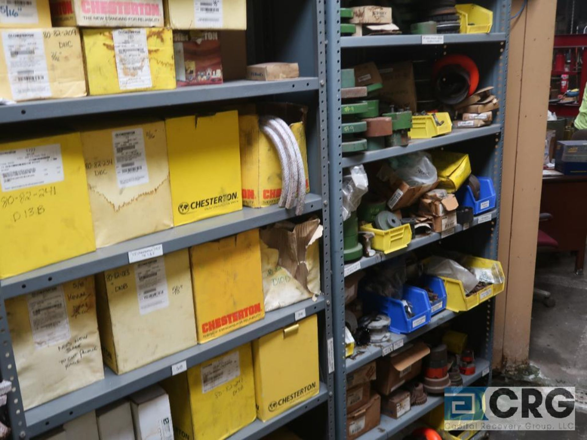 Lot of assorted parts on (4) sections and on wood shelving including motor, guards, housing, pump - Image 20 of 20