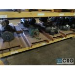 Lot of (32) assorted 15 HP, 10 HP, and 7.5 HP motors on (7) shelves, some with gear drives (Motor