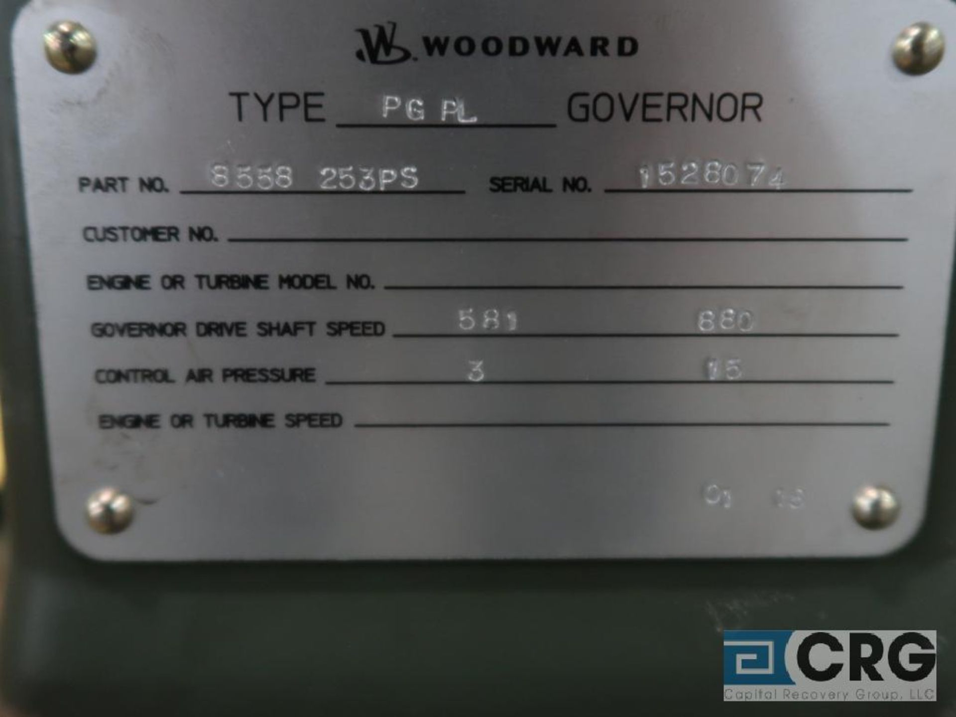 Woodward PGPL govenor, 380-1,470 RPM, s/n 1528070 (Finish Building) - Image 2 of 2