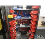 Metal 2 door cabinet with trays mounted inside-includes contents (Inside Shop-496 Dock Area)