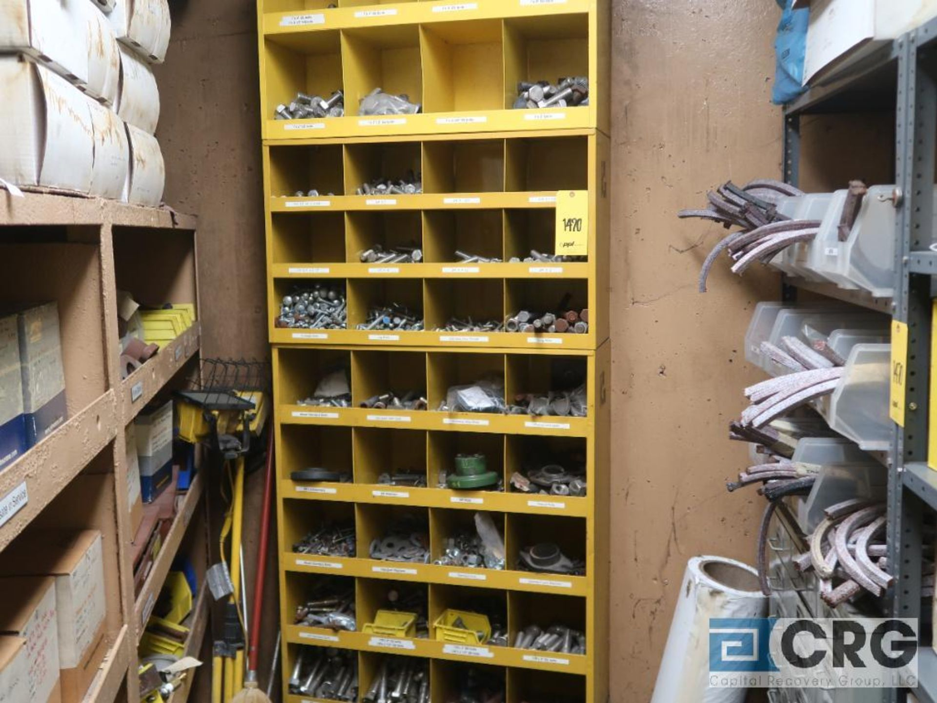 Lot of assorted parts on (4) sections and on wood shelving including motor, guards, housing, pump - Image 16 of 20